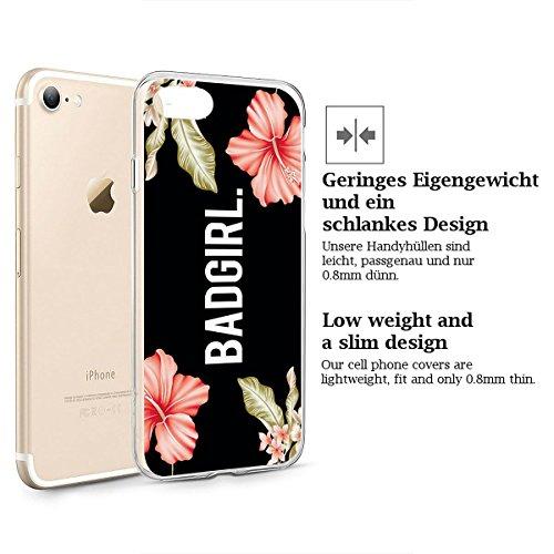 finoo | iPhone 8 Plus Weiche flexible Silikon-Handy-Hülle | Transparente TPU Cover Schale mit Motiv | Tasche Case Etui mit Ultra Slim Rundum-schutz | Princess white Badgirl