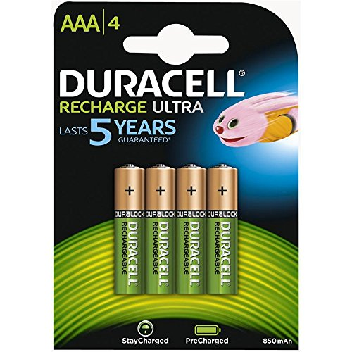 Duracell AAA HR03 Duralock Pre and Stay Charged Rechargeable NiMH Batteries 850mAh - 4 Pack -