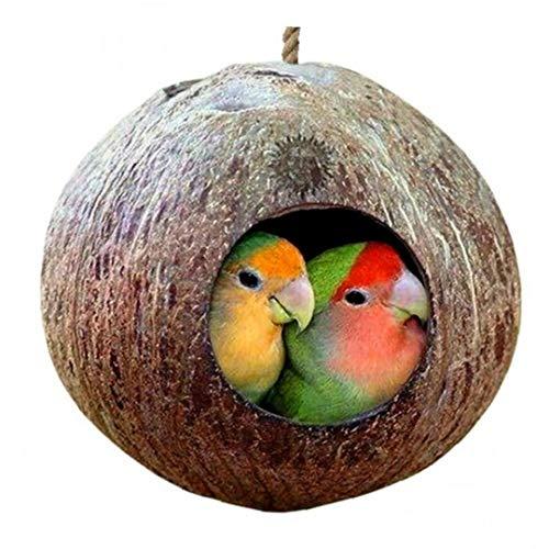 Onsinic 1Pc Käfig mit Hängen Lanyard Für Kleintiere Sittiche Finke Sparrows Zubehör Natürliche Kokosnuss-Shell-Vogel-Nesting Haus -