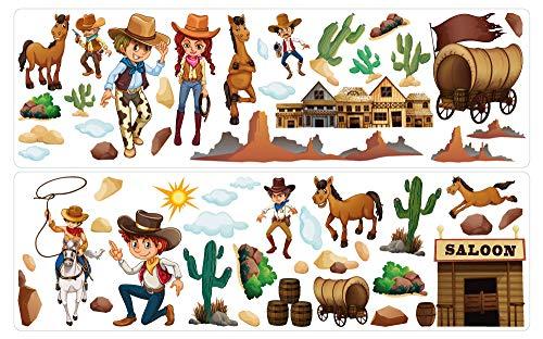 dekodino® Wandtattoo Cowboy Set mit Pferden, Saloon und Ranch Wandsticker Deko