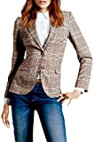 HX fashion Damen Blazer Business Herbst Anzugjacke Slim Fit Kariert Classic Langarm Revers Einreihig Mäntel Gemütlich Oberbekleidung Kleidung (Color : Plaid, Size : XL)