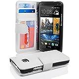 HTC ONE M7 (1. Gen.) Hülle in WEIß von Cadorabo - Handy-Hülle mit 3 Kartenfächer und Standfunktion für HTC ONE M7 (1. Gen.) Case Cover Schutz-hülle Etui Tasche Book Klapp Style in MAGNESIUM-WEIß