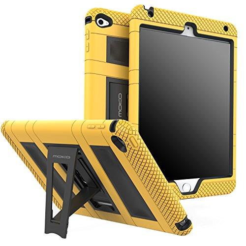 MoKo Hülle für iPad Mini 4 - Silikon + Schwarz Hart Polycarbonat Protector mit faltbarem Kickstand Schutzhülle Case mit Standfunktion für Apple iPad Mini 4 7.9 Zoll IOS 2015 Genaration Tablet, Gelb