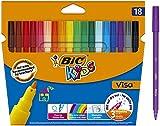BIC Kids Visa Feutres de Coloriage à Pointe Fine - Couleurs Assorties, Etui Carton de 18