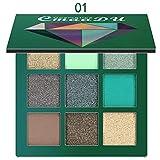 CmaaDu Sombras de Ojos de Brillos Diamantes 9pcs Paletas de Sombras para Ojos para Maquillaje de Fiestas