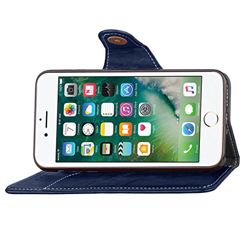 Apple iPhone 6 6S Hülle, SATURCASE Retro Business Stil PU Lederhülle Ledertasche Magnetverschluss Schnalle Flip Cover Brieftasche Case Handy Tasche Schutzhülle Handyhülle Hülle mit Standfunktion Karte Blau
