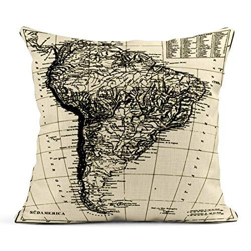 Dekokissen Historische Karte von Sud America aus dem Bilderatlas von F Brockhaus Atlas Erschienen 1851 Sonstiges Mein Portfolio Leinen Kissen Home Decorative Pillow
