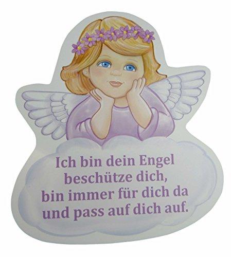 Schutzengel Baby für Mädchen mit Engel in rosa und mit Spruch ich pass auf dich auf - Wandbild als Deko für das Kinderzimmer aus unserer Reihe Geschenke zur Geburt und Taufe (22 x 24, rosa)