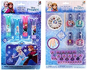 Disney Frozen Beauty Bundles For Kids - 2 Items : Disney Frozen Nail Design Set, Disney Frozen Lip Balm Kit