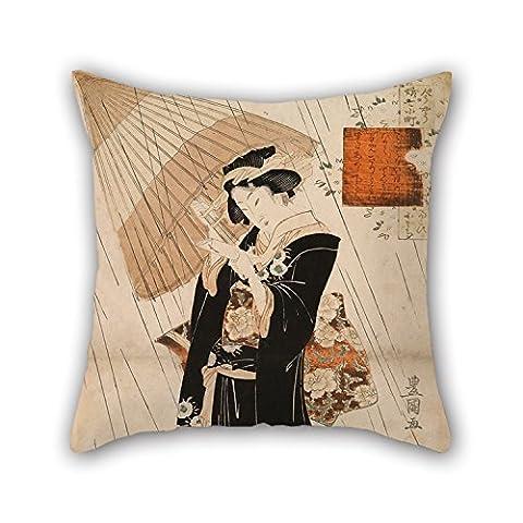 Bestseason Peinture à l'huile Utagawa Toyokuni II–The Poetess Ono-no Komachi sous la pluie Couvre-lit Taie d'oreiller 40,6x 40,6cm/40par 40cm Meilleur Choix pour l'extérieur, enfants, vos proches, siège auto, GF, chaise longue wit