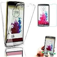 LG G3 Cover, Bonice LG G3 Custodia, Ultra Sottile Morbido TPU Full Body Protezione a 360¡ã Resistente Ai Graffi Trasparente + 1x Protezione Dello Schermo Screen Protector¨C bianca
