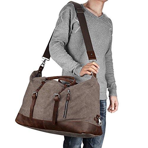 sconto di vendita caldo promozione speciale ultimo sconto Borsone da Viaggio per Sport di tela e pelle Borsa Weekend Bag Uomo/Donna  Vintage (Caffè) | Valigeria