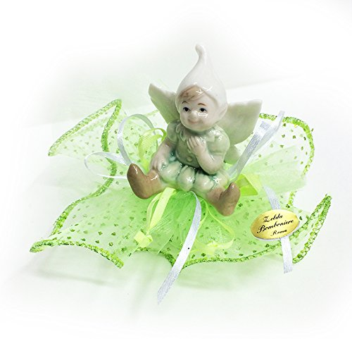 Zelda bomboniere bomboniera gnomo in ceramica tulle a pois verde glitterato (zelda1903)