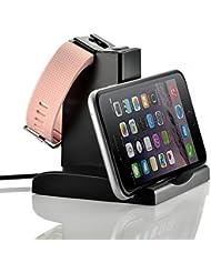 EloBeth für Fitbit Charge 2 Charger Ladekabel -mit Phone Stand Dock Ersatz USB-Ladekabel Ersatz-Ladegerät Ladestation Charging Dock Adapter USB Ladekabel für Fitbit Charge 2 Armband Zur Herzfrequenz und Fitnessaufzeichnung,Schwarz