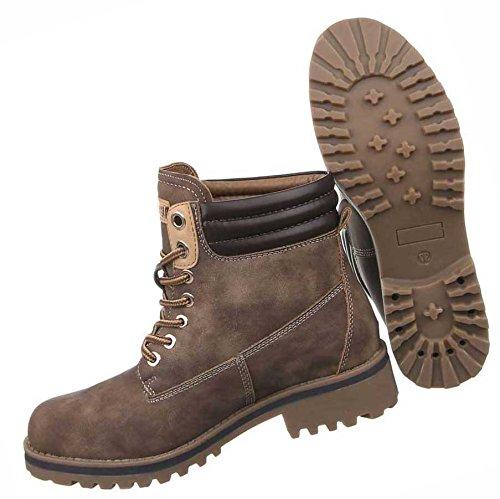 Damen Boots Schuhe Schnürer Stiefeletten Schwarz Beige Dunkelblau Grau Braun Weinrot 36 37 38 39 40 41 Braun