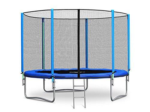 Trampolin 305 cm 10 ft mit Sicherheitsnetz Außennetz und Einstiegsleiter Neo-Sport Gartentrampolin (Neo Sport)