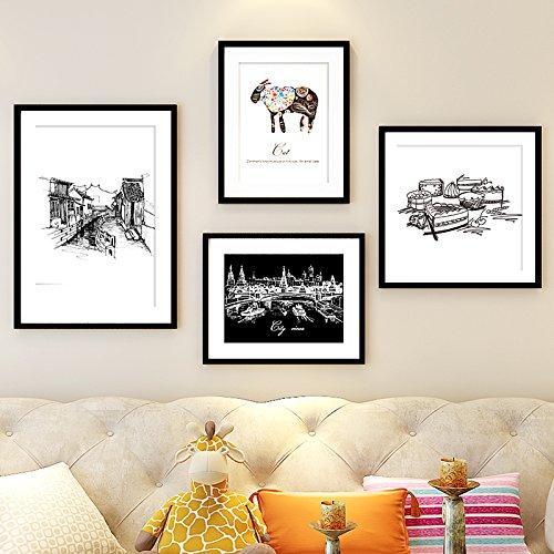 Han Feng-Adesivi da parete camera 4foto di grande formato legno Box solida parete immagini Frame combinazione idea Business, soggiorno decorazione da parete incorniciata