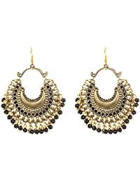 Bollywood Trendy Antique Gold Tone Vintage Style Oxidized Afghani Chandbali Earring For Women & Girls Partywear...