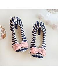 Color matching hilos tejer Zapatillas resbalón resistente hogar caliente antideslizantes zapatos , a , 36-37