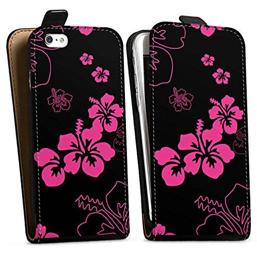Apple iPhone X Silikon Hülle Case Schutzhülle Blumen Schwarz Pink Muster Downflip Tasche schwarz