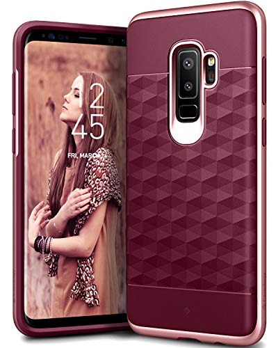 Caseology Parallax Series Case Designed for Galaxy S9 Plus with Slim Fit Geometric Cover and Enhanced Drop Protection for Samsung Galaxy S9 Plus (2018) - Burgundy/Rose Gold