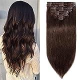 Clip in Extensions Echthaar günstig Haarverlängerung Remy Echthaar 8 Tressen 18 Clips Glatt 40cm-90g(#2 Dunkelbraun)