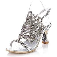 GAIHU Womens Rhinestones sandalias de tacón medio zapatos artesanales Bridemaid vestido fiesta nocturna Tamaño Prom 35-43