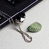 MAXINDA Gioielli Chiavetta USB 16GB/32GB/64GB Cuore di Metallo di Memoria usb con Cordino Argento (32GB, Verde Cuore)