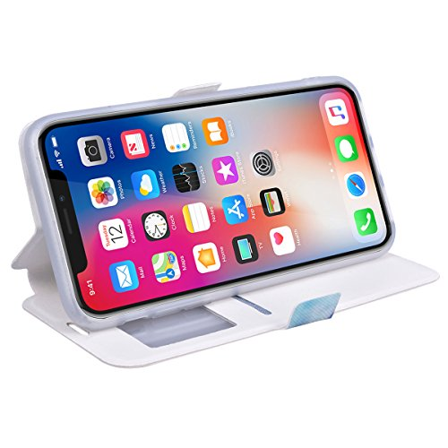 SMART LEGEND Lederhülle für iPhone X Ledertasche Hülle Smart Window Fenster Bunt Muster Schutzhülle Premium PU Leder mit Handschlaufe Flip Case Protective Cover Innere Weiche Silikon Bookcase Handy Ta Schmetterling