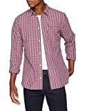 Tommy Jeans Herren Essential Mini Check  Langarm Regular Fit Freizeithemd Rot (Samba 602) Large