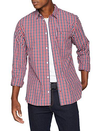 Tommy Jeans Herren Essential Mini Check  Langarm Regular Fit Freizeithemd Rot (Samba 602) X-Large