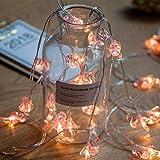 Danolt 20 LED-Lichterkette mit rosa Flamingos, romantisches Deko, für Mädchen, Schlafzimmer, Party, Zuhause, Halloween, Weihnachten, Warmweiß