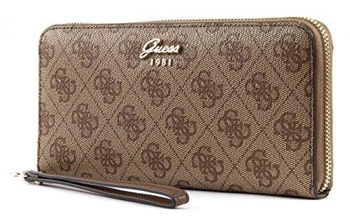 Guess Geldbörse - Jacqui - Large Zip Around - Brown (Brieftasche Braun Guess)