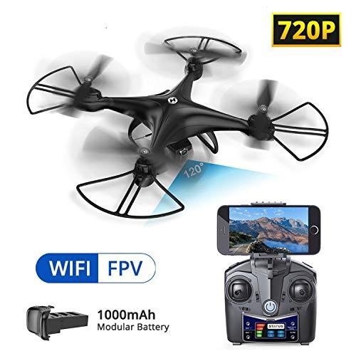 Holy Stone HS110D Drone avec Caméra HD720P WiFi FPV Vidéo en Temps réel,Helicoptère RC Télécommandé,Quadcopter Avion Mini radiocommandé Maintien d'altitude,360°Flips,Jouet Cadeau pour Adulte Débutant