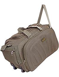 alfisha Lightweight Waterproof Polyester Luggage Travel Duffel Bag with Roller Wheels- Brown
