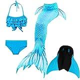 Das beste Mädchen Bikini Badeanzüge Schönere Meerjungfrauenschwanz Zum Schwimmen mit Meerjungfrau Flosse Schwimmen Kostüm Schwanzflosse - Ein Mädchentraum- Gr. 140, Farbe: Welle - Blau