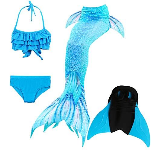 ikini Badeanzüge Schönere Meerjungfrauenschwanz Zum Schwimmen mit Meerjungfrau Flosse Schwimmen Kostüm Schwanzflosse - Ein Mädchentraum- Gr. 150, Farbe: Welle - Blau ()