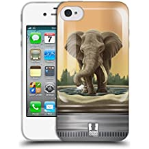 Head Case Designs Elfante Gigante Animali In Barattolo Cover Morbida In Gel Per Apple iPhone 4 / 4S