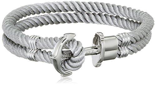 PAUL HEWITT Anker Armband Herren und Damen PHREP - Anker Armband Nylon (Grau), Segeltau Armband für Männer und Frauen mit Anker Schmuck aus Edelstahl (Silber)