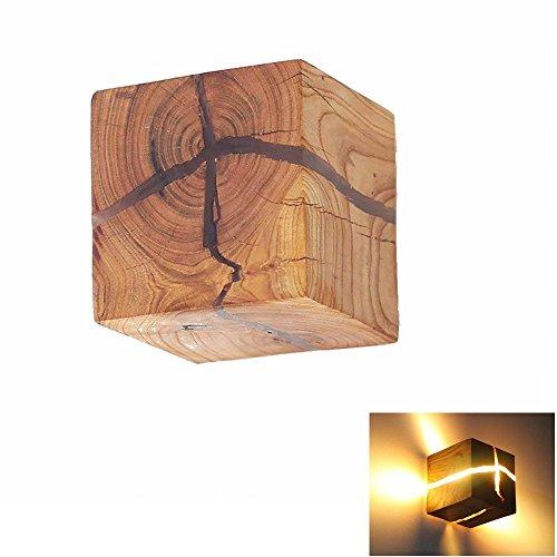 HOIHO Hölzerne Riss Wand Lampen, 5W Kreativ Wandleuchte Klein Nachtlicht Warmweiß 3.14 * 3.14 * 3.14 Zoll Holz Riss Wandlampe LED Nachttischlampe Gangbeleuchtung Korridor wandbeleuchtung innen Dekoration[Energieklasse A+++] (Lampe Hölzerne)