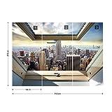 New York Skyline Der Stadt 3D-Dachfenster-Ansicht Vlies Fototapete Fotomural - Wandbild - Tapete - 312cm x 219cm / 3 Teilig - Gedrückt auf 130gsm Vlies - 10415VEXXL - New York Test