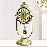 Relddd Kaminuhr Kaminuhren,Reines Kupfer stumm Wohnzimmer Uhr Moderne antike Quarz Uhr Tisch Dekoration Ornamente