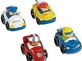 Fisher-Price–V1624–Fahrzeug Miniatur–Pack 4Fahrzeuge Wheelies Little People–Thema Rennen
