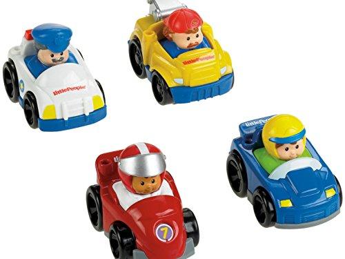 Fisher-Price - V1624 - Véhicule Miniature - Pack de 4 Véhicules Wheelies Little People - Thème Course