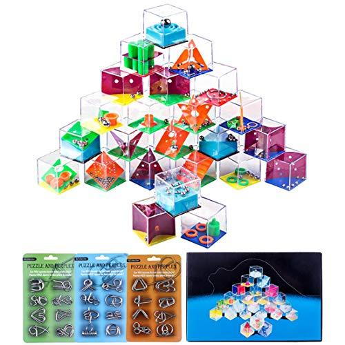 (BOROK 24St. Balance Labyrinth Spiel Maze Puzzle Box Irrgarten Mitgebsel +24St. Metall Knobelspiele IQ Spiele Set 3D Puzzle Geduldspiele Denkspiel Logikspiele Rätsel Brainteaser als Adventskalender Inhalt für Kinder und Erwachsene)