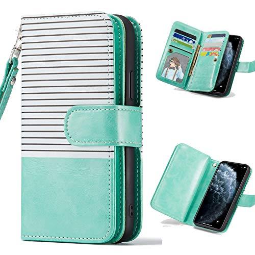 Nadoli iPhone 8 Plus Hülle Handyhülle,Lederhülle Magnetverschluss 9 Kartenfächern Reißverschluss Cover Brieftasche Flip Wallet Cover für iPhone 7 Plus,Weiß Grün