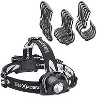 liteXpress Set lampada frontale a LED con supporto per casco, Plastica, Nero, 6,3x 3,3x 4,8cm, 2unità