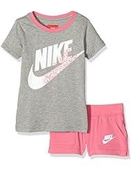 Nike Knit Set LK - Conjunto con camiseta y pantalón corto para niña, color gris / rosa, talla XS