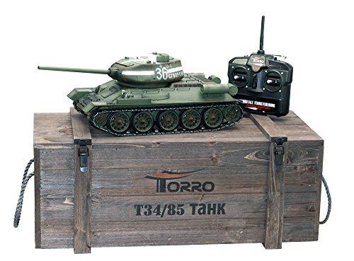 Preisvergleich Produktbild Torro 3909-B - T34/85 RC Panzer 2.4 GHz 1/16 Profi-Metall BB, grün