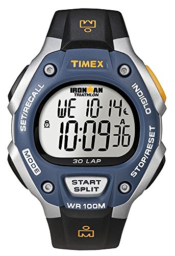 Timex Ironman T5E931 Orologio da Polso, Cronografo da Uomo, Cinturino in Resina, Grigio/Blu